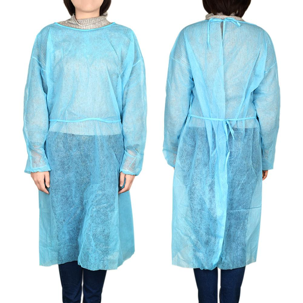 1PCS Blue Disposable Non-woven Apron Work Surgical Gown Clothing Clothes Breathable Elastic Dust Proof Overalls Protective Cloth