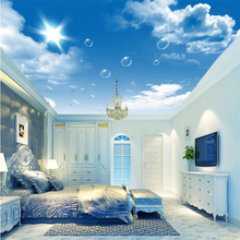 Custom wallpaper 3D photo murals HD blue sky white clouds dandelion ceiling wallpaper painting living room hotel 3d wallpaper beibehang blue sky and white clouds wallpapers house interior decoration living room ceiling entrance 3d photo wallpaper mural