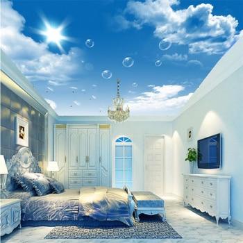 Custom wallpaper 3D photo murals HD blue sky white clouds dandelion ceiling painting living room hotel 3d