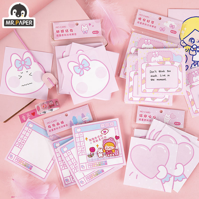 Mr.Paper Pink Sweetheart Rubbit Girlish Writing Note Memo Pads Loose Leaf Cartoon Notepad Diary Note Memo Pads Stationery School