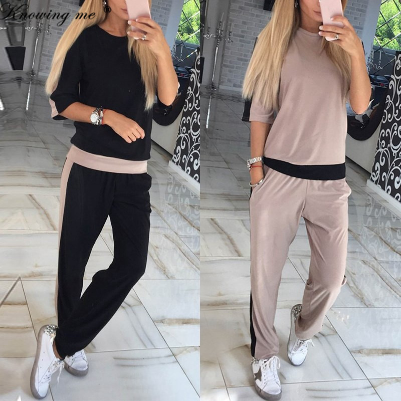 Knowine Me Women Autumn Tracksuit Sets Elegant 2019 Casual O Neck Half Sleeve Sporting Suit Two Piece Sets Patchwork Sportswear