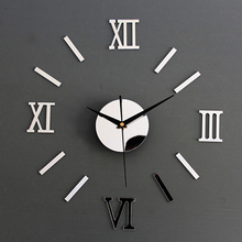 high quality Modern DIY Interior Roman Wall Clock 3D Sticker Home Mirror Effect 4 Style Stickers PY