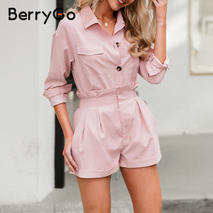 Image 4 - BerryGo Casual buttons two piece suits women set High waist pockets female short jumpsuit 2020 Summer style ladies sets outfit