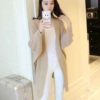 Long Cardigan Women Sweater Autumn Winter Bat Sleeve Knitted Sweater Plus Size Jacket Loose Ladies Sweaters Cardigans 3XL 9