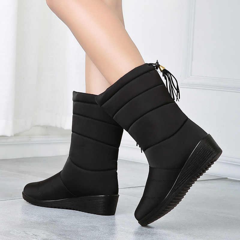Kar botları su geçirmez kadın çizmeler orta buzağı botları sıcak kürk kadın kış botları Bota Botas Mujer patik kadınlar kış ayakkabı