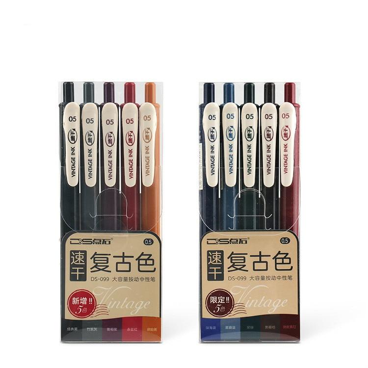 5pcs Retro Quick-drying Gel Pen Bullet Journal Accessories School Student Large Capacity Colored Press Gel Pen Set Handbook Pen
