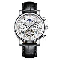 Men Mechanical Watch Date Week Automatic Movement F Man Waterproof Hollow Genuine Leather Wristwatches