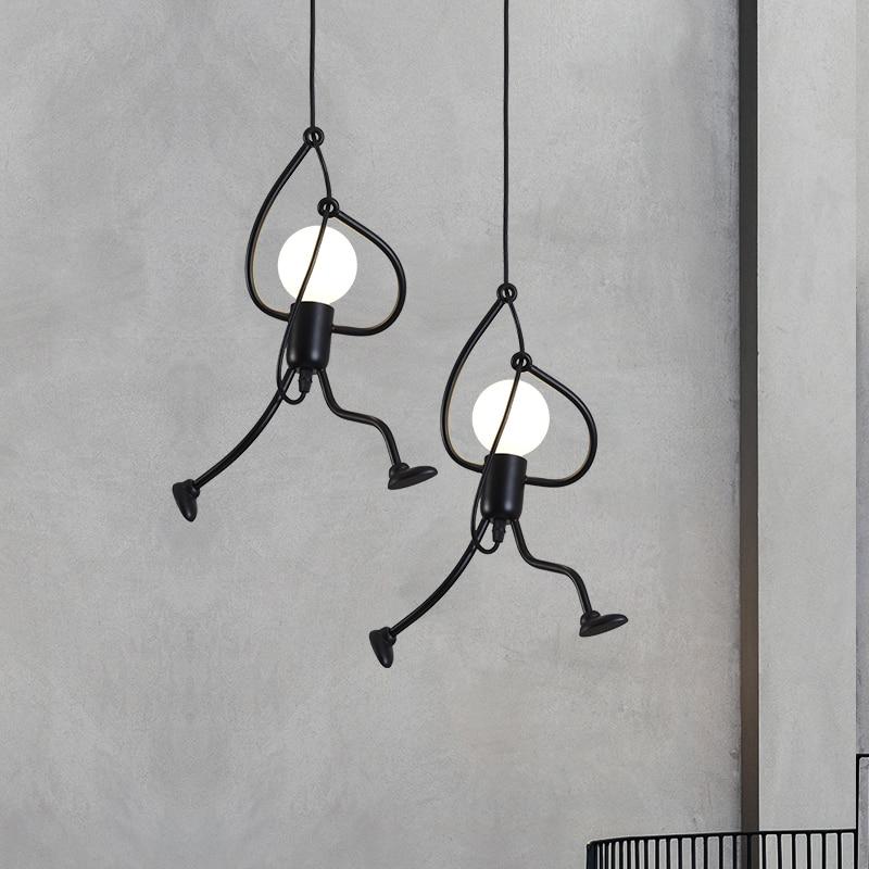 Petit homme escalade pendentif lumière moderne suspension lampe créative fer personnes lumières cordon métallique pandant lampes pour enfant chambre d'enfants