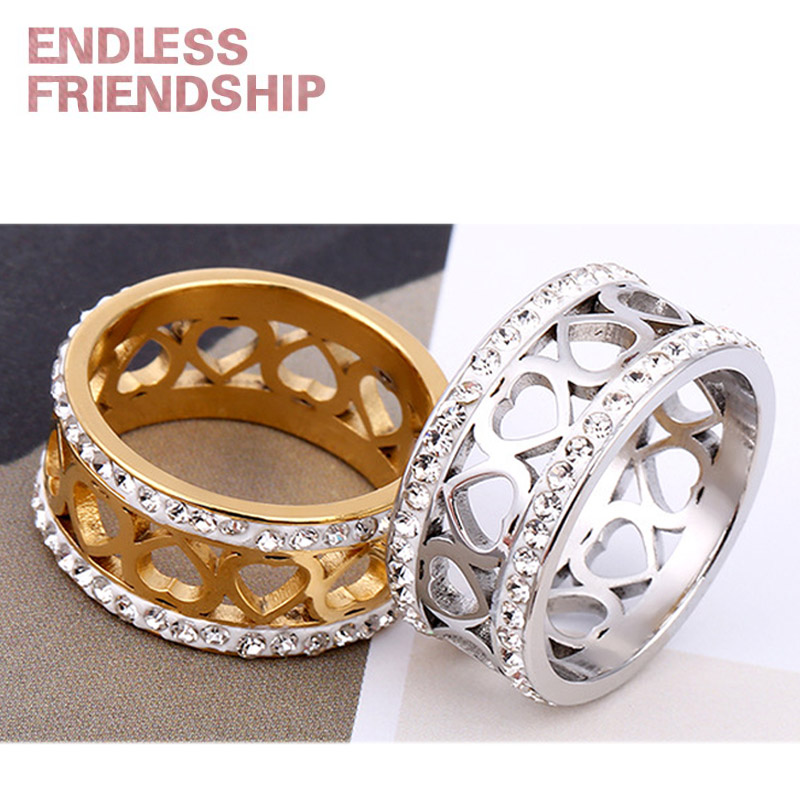 Endless Friendship Heart Sharp Rings Fashion Silver Golden Lover Ring Diamond Couple Anniversary Love Gift anillos mujer