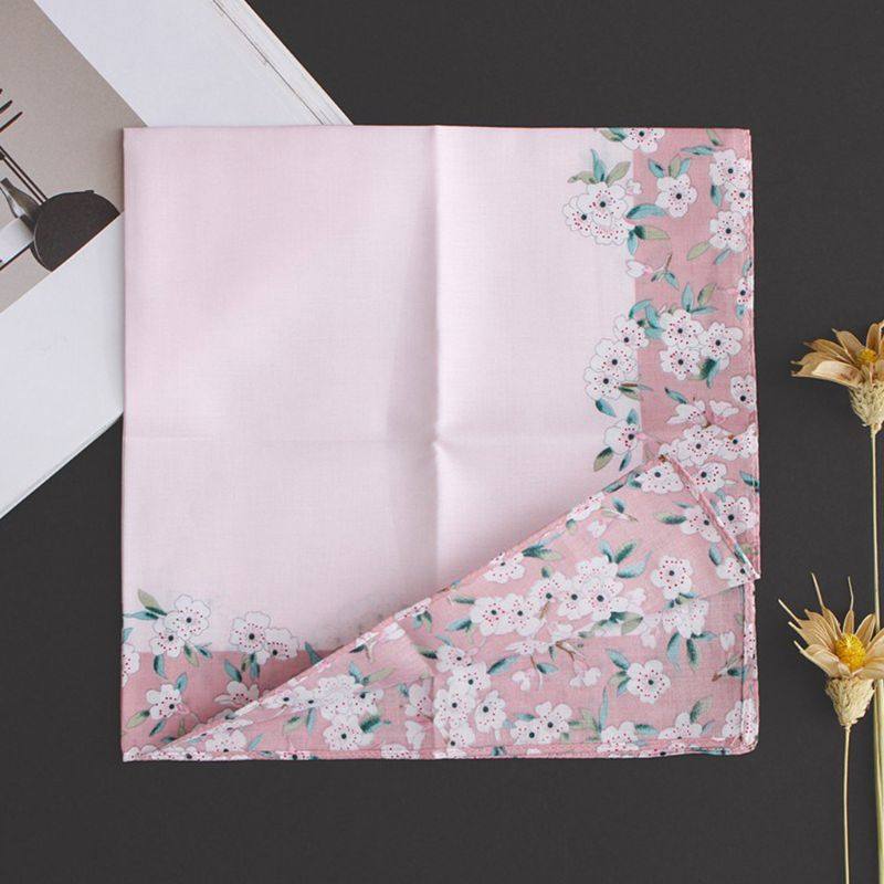 Womens Cotton Square Handkerchiefs Cherry Blossom Floral Candy Color Hanky Towel DXAA