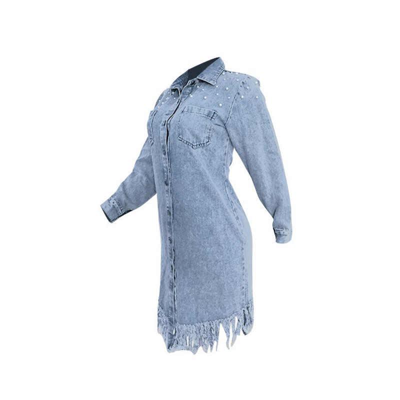 Voobuyla 2019 סתיו שמלה קיצית ג 'ינס נשים מזדמן ארוך שרוול חולצת ג' ינס Vestidos תורו למטה צווארון חרוזים ציצית ג 'ינס שמלות