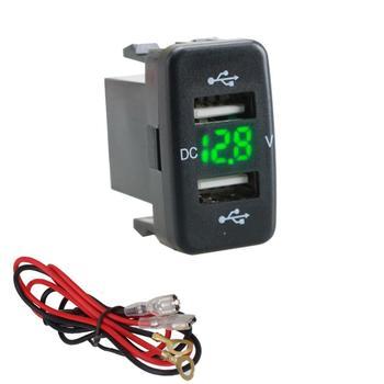 12V-24V Car 4.2A Dual USB Ports Socket Charger Voltmeter Power Socket 60cm Cable for Toyota