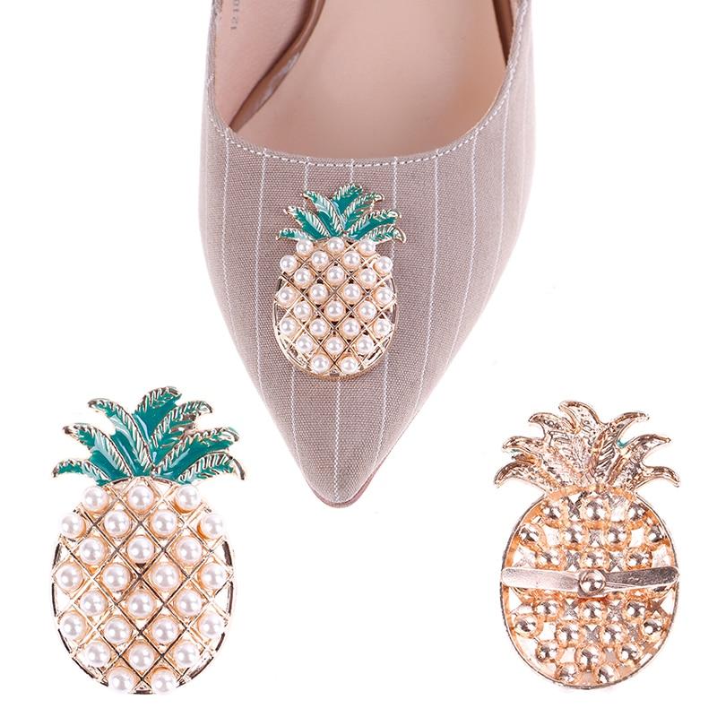 2PCS/lot Fashion Pineapple Shape Shoe Clip Decoration Bridal Shoes Clip Buckle Faux Pearl Shoe Clips Decorative Accessories