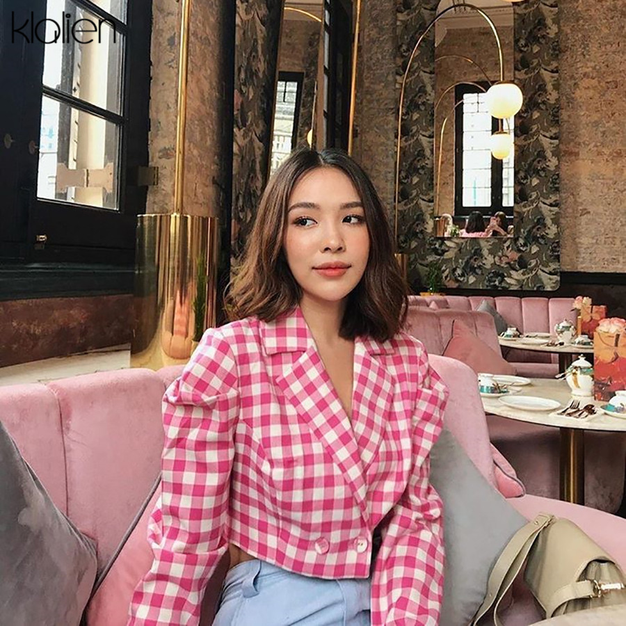 KLALIEN autumn fashion sweet Retro Plaid Notched womens full sleeve Short tops 2019 office ladies wild pink casual Blazers mujer