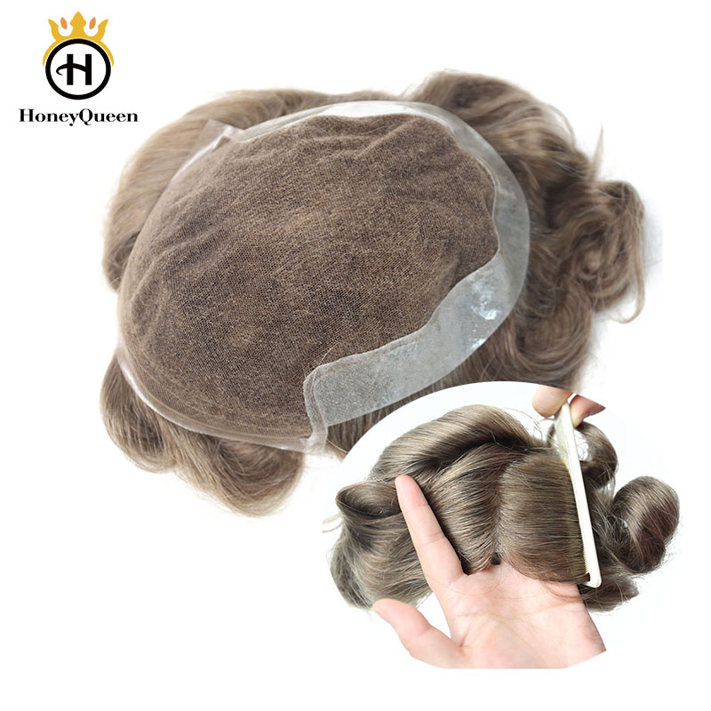 Lace Front Hair Toupee Men Natural Looking 100% European Human Hair Toupee Lace & PU Replacement System 17# Color Remy Hair