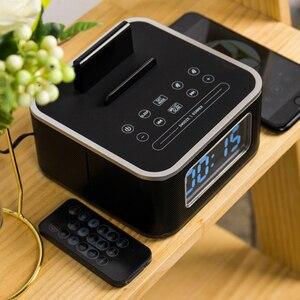 Image 3 - Homtime – réveil avec haut parleur Bluetooth, caisson de basses, Radio dappel sans fil, pour maison, hôtel, chevet, téléphone portable