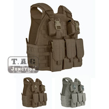 Emerson Tactical Compact Vest SPC Style High Speed Plate Carrier Adjustable Vest w/ Triple For M4 M16 Magazine Mag Pouch