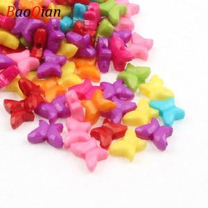 50 шт разные цвета в произвольном порядке акриловые бусины в форме галстука-бабочки для изготовления ювелирных изделий Детский Набор для тв...