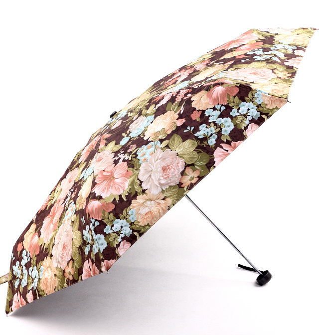 Currently Available New Style Flower Slidable Five-fold Umbrella Vinyl Full Blackout Parasol Folding Small All-Weather Umbrella