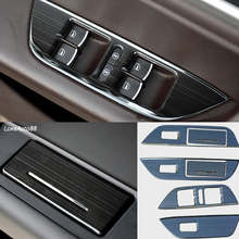цена на 4Pcs Door Window Lift Switch Button Cover Trim Panel Car Trim Sticker Fit For Volkswagen VW Touareg 2011-2017 Car Accessories
