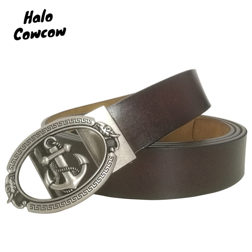 105 - 140 150 160cm Anchor Designer Belts 3.5cm Wide Cowskin Real Genuine Leather Belt Automatic Buckle Large Size Belt Strap