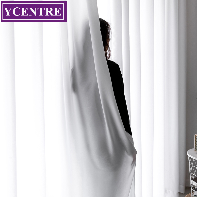 YCENTRE New Artificial Silk Suiting Sheer Curtains For Living Room Bedroom Window Voiles Tulle Feel Smooth And Soft To The Touch