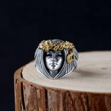 Europeu e americano venda quente retro deusa anel masculino punk moda jóias
