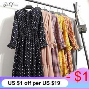Shirt Dress Long-Sleeve Chiffon Printed Vintage Floral Korean-Style Midi Summer Casual