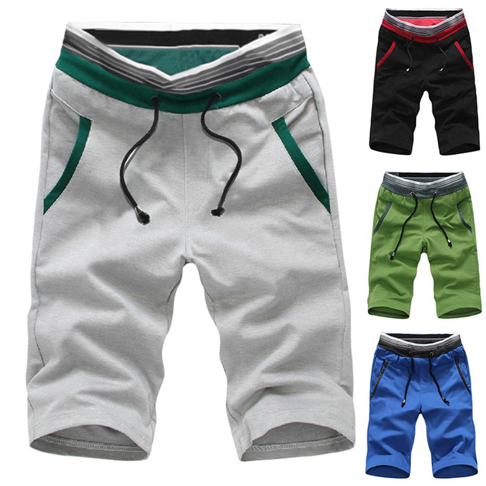 Plus Size Fashion Men Summer Beach Shorts Color Block Drawstring Short Pants