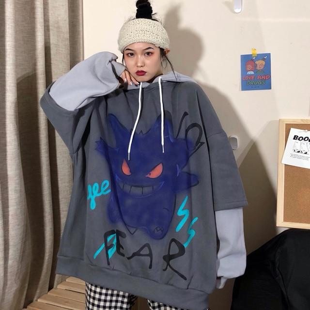 QWEEK Harajuku Hoodie Women Print Pullover Korean Oversized Sweatshirt Long Sleeve Hoodies Grunge Hoodie Halloween Monster Chic 3