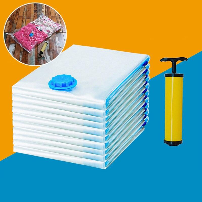 12 ~ 1 шт органайзер для вакуумного хранения Сжатые Мешки для экономии места в путешествии упаковка одежды одеяла одеяло всасывающая сумка ру...