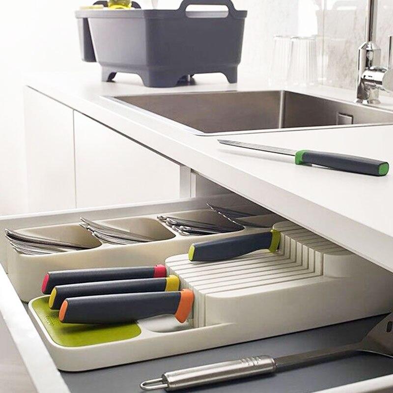 Держатель для ножей Кухня Столовые приборы держатель для ножей Кухня Органайзер Кухонный Контейнер Ложка Вилка для хранения разделительный блок для ножей-2