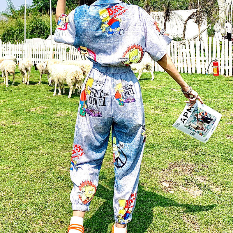 Zomer Streetwear Fashion Speelpakjes Hoge Taille Korte Mouw Romper Oversized Losse Hip Hop Jumpsuit Vrouwen Cartoon Anime Bodysuit