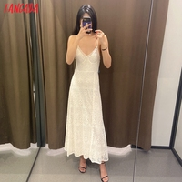 Tangada 2021 Women Beige Embroidery Romantic Long Dress Strap Adjust Females Maxi Dresses Vestidos 6H51 2