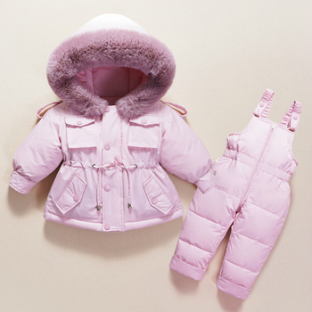 Children Down Coat Jacket+jumpsuit Kids Toddler Girl Boy Clothes Down 2pcs Winter Outfit Suit Warm Baby Overalls Clothing Sets