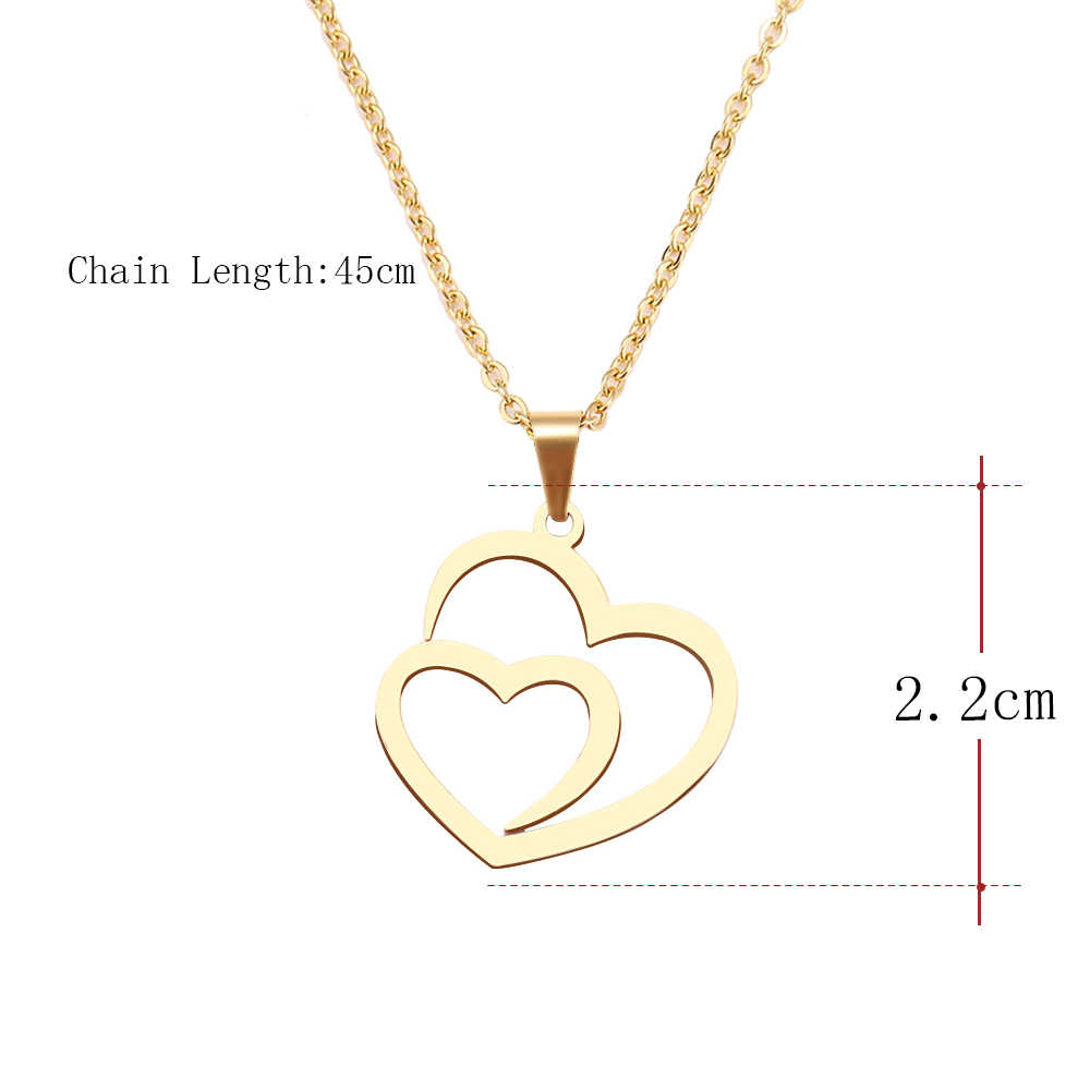 DOTIFI Stainless Steel Necklace For Women Man Hollow Double Heart Choker Pendant Necklace Engagement Jewelry