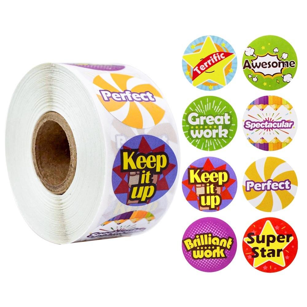Купить 500 шт/рулон круглая наклейка для вознаграждения с милыми словами