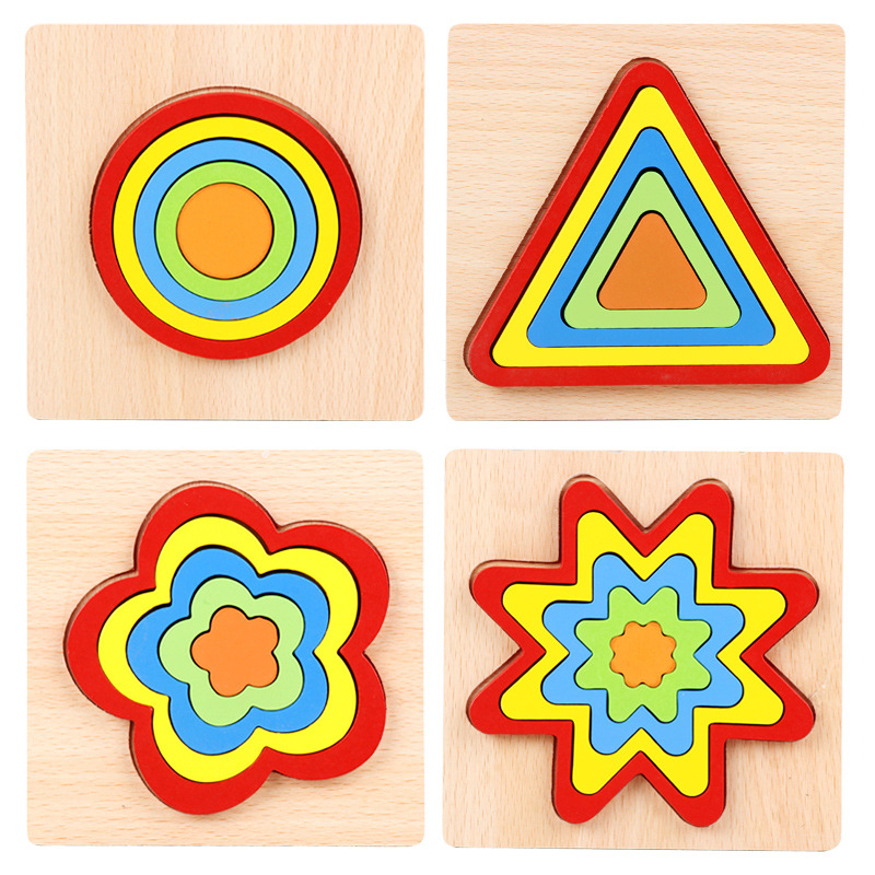 Wooden Geometric Shape Puzzle Kids Montessori Toys Educational Shape Cognition Children Jigsaw Puzzle Board Learning Sensory Toy 3
