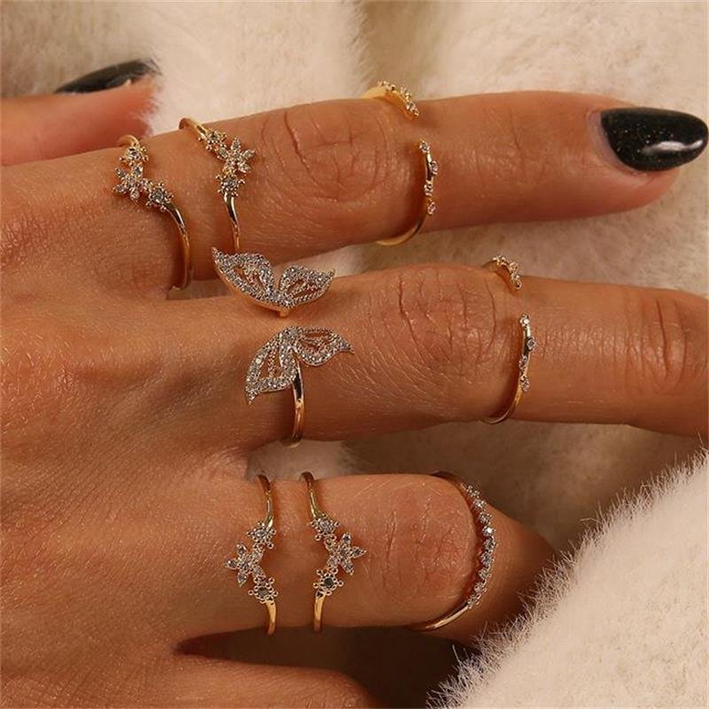 Vintage Boho Crystal Butterfly Rings Set For Women Zircon Leaves Stars Geometric Knuckle Finger Ring Wedding Party Jewelry Gifts