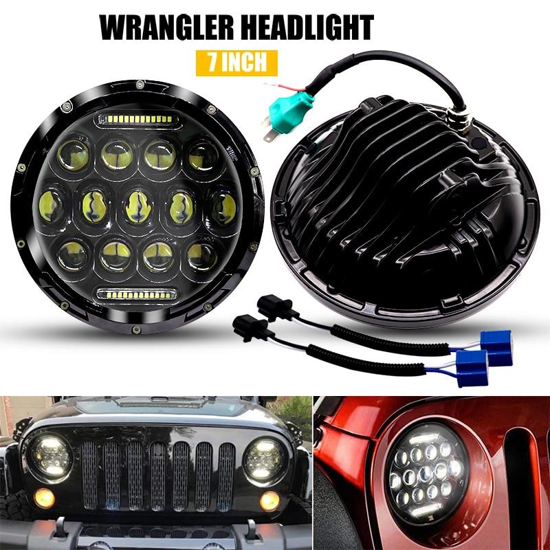 "2x 7"" H4 Round LED DRL Driving Light Headlamp Headlight Bulbs 750W Motorcycle LED Headlights for Jeep Harley Davidson"