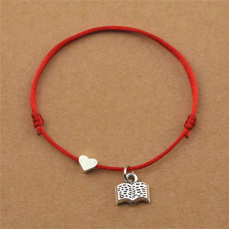Red String Cords Heart Charm Love Reading Book Charm Bracelets for Teacher Student School Library Reader Books Jewelry Gifts(China)