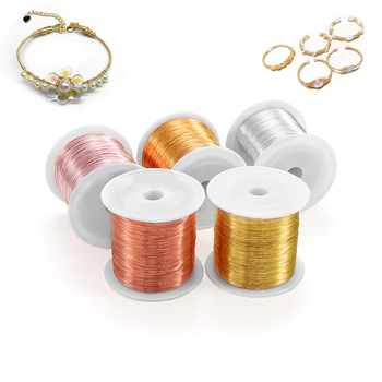 30-320M/lot 0.3 0.4 0.5 0.8 1mm Solid Colorfast Copper Wire Beading String Cord For DIY Jewelry Making Findings Accessories image