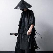 Japonês tradicional quimono cardigan preto algodão moda adereços haori samurai cosplay trajes estilo chinês jaqueta streetwear