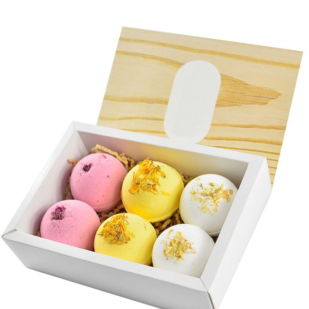 6pcs Bath Salt Ball Essential Oil Multiple Bubble Skin Moisturizing Exfoliating With Dried Flower Color Bath Bomb Gift Set