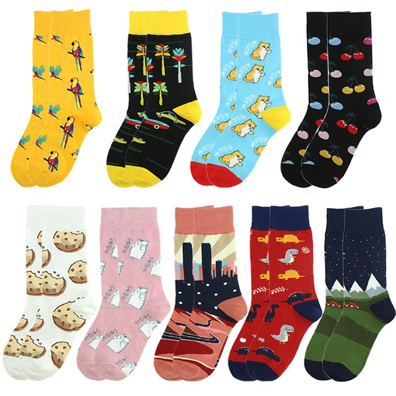 Adult Artistic Sox Socks Urban City Dragonfly Parrots Plutus Cat Colorful Cherry Flowers Cars Dinosaur Tortoises Potato Biscuits
