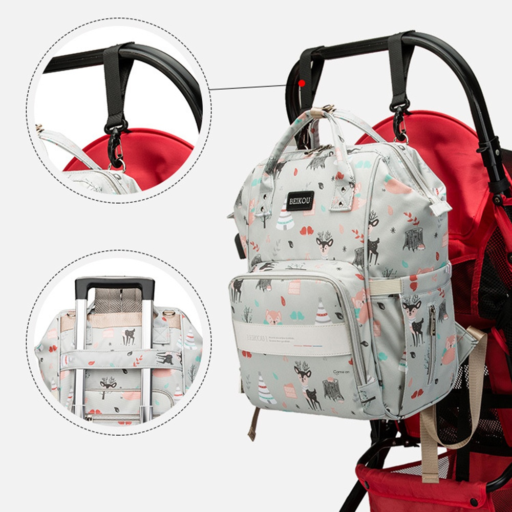 2020 Latest Multi-functional Mommy Bag Fashion Diaper Travel Backpack For Babies Nappies With Phone Charger Stroller Hooks