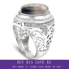 ผู้ชายแหวน 925 เงินสเตอร์ลิงรูปไข่ธรรมชาติหินCZ Hollow Vintage Punkแหวนนิ้วมือสำหรับชายแฟชั่นเครื่องประดับแหวนFine
