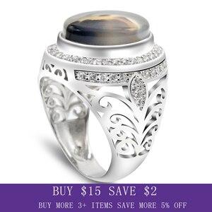 Image 1 - ผู้ชายแหวน 925 เงินสเตอร์ลิงรูปไข่ธรรมชาติหินCZ Hollow Vintage Punkแหวนนิ้วมือสำหรับชายแฟชั่นเครื่องประดับแหวนFine