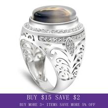 Mężczyźni pierścień 925 srebro owalny natura kamień CZ Hollow Design Vintage Punk Ring Finger dla człowieka Party biżuteria piękny pierścionek