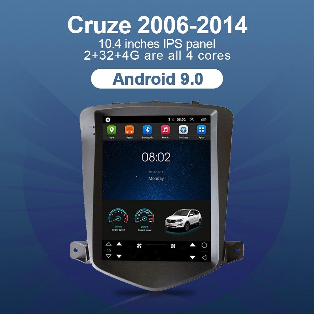 Автомобильный радиоприемник для 06-14 Chevrolet Cruze, сенсорный экран 10,4 дюйма, стереоприемник, 4G, Wi-Fi, Android 9,0, мультимедийный плеер, GPS, автомобильный...